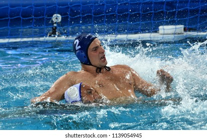 Budapest, Hungary - Jul 27, 2017. TOROK Bela (2) hungarian waterpolo player in the Semifinal. FINA Waterpolo World Championship was held in Alfred Hajos Swimming Centre in 2017.