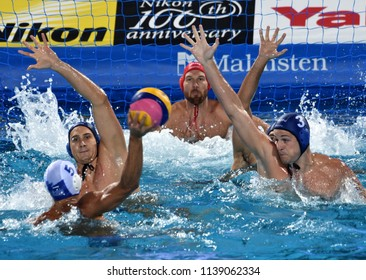 Budapest, Hungary - Jul 27, 2017. MANHERCZ Krisztian (3), GOR-NAGY Miklos (8), VAMOS Marton (5) and NAGY Viktor (1) defend against FOUNTOULIS Ioannis (5). FINA Waterpolo World Championship, Semifinal.