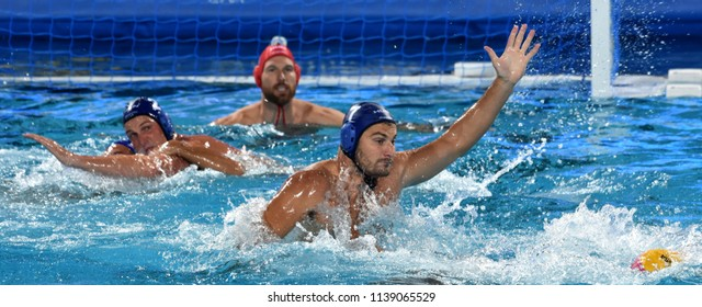Budapest, Hungary - Jul 27, 2017. DECKER Adam (7) hungarian waterpolo player in the Semifinal. FINA Waterpolo World Championship was held in Alfred Hajos Swimming Centre in 2017.