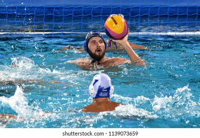 Budapest, Hungary - Jul 27, 2017. MEZEI Tamas (11) in the Semifinal. FINA Waterpolo World Championship was held in Alfred Hajos Swimming Centre in 2017.