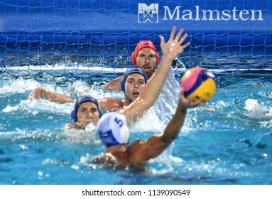 Budapest, Hungary - Jul 27, 2017. NAGY Viktor (1), ERDELYI Balazs (9) and VAMOS Marton (5) defend against Greece National Waterpolo Team. FINA Waterpolo World Championship, Semifinal.