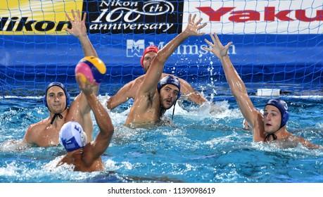 Budapest, Hungary - Jul 27, 2017. GOR-NAGY Miklos (8), VAMOS Marton (5), MANHERCZ Krisztian (3) and NAGY Viktor (1) defend against Greece Waterpolo Team. FINA Waterpolo World Championship, Semifinal.