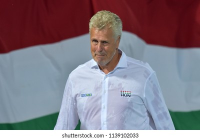 Budapest, Hungary - Jul 27, 2017. GERENDAS Gyorgy coach of Hungary Men Waterpolo team in the Semifinal. FINA Waterpolo World Championship was held in Alfred Hajos Swimming Centre in 2017.