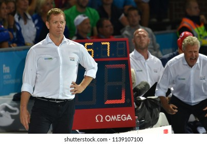 Budapest, Hungary - Jul 27, 2017. GERENDAS Gyorgy and MARCZ Tamas head coach of Hungary Men Waterpolo team with . FINA Waterpolo World Championship was held in Alfred Hajos Swimming Centre in 2017.