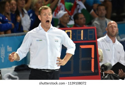 Budapest, Hungary - Jul 27, 2017. MARCZ Tamas, head coach of Hungary Men Waterpolo team. FINA Waterpolo World Championship was held in Alfred Hajos Swimming Centre in 2017.