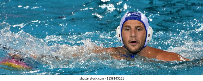 Budapest, Hungary - Jul 27, 2017. GENIDOUNIAS Konstantinos (2) greek waterpolo player in the Semifinal. FINA Waterpolo World Championship was held in Alfred Hajos Swimming Centre in 2017.