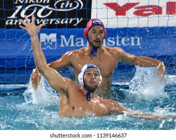 Budapest, Hungary - Jul 27, 2017. GENIDOUNIAS Konstantinos (2) and FLEGKAS Konstantinos (1) in the Semifinal. FINA Waterpolo World Championship was held in Alfred Hajos Swimming Centre in 2017.