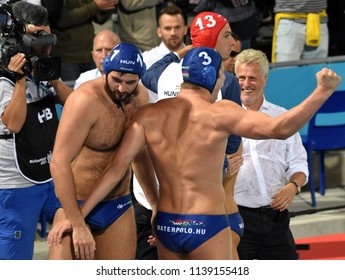 Budapest, Hungary - Jul 27, 2017. Happy hungarian team (GERENDAS Gyorgy, MANHERCZ Krisztian 3, MEZEI Tamas 11, DECKER Attila 13) after winning in the Semifinal. FINA Waterpolo World Championship.