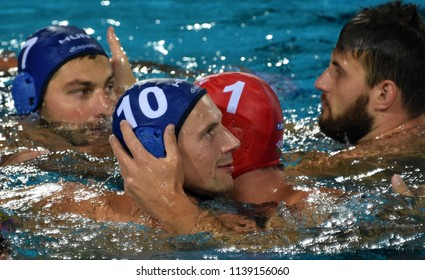 Budapest, Hungary - Jul 27, 2017. Happy hungarian team (NAGY Viktor 1, VARGA Denes 10, MEZEI Tamas 11) after winning in the Semifinal. FINA Waterpolo World Championship.