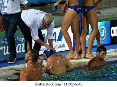 Budapest, Hungary - Jul 27, 2017. Happy hungarian team (GERENDAS Gyorgy, VARGA Denes 10) after winning in the Semifinal. FINA Waterpolo World Championship.