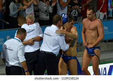 Budapest, Hungary - Jul 27, 2017. Happy hungarian team (MARCZ Tamas, GERENDAS Gyorgy, VARGA Denes 10, ERDELYI Balazs 9) after winning in the Semifinal. FINA Waterpolo World Championship.