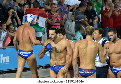 Budapest, Hungary - Jul 27, 2017. Happy hungarian team (GOR-NAGY Miklos 8, MANHERCZ Krisztian 3) after winning in the Semifinal. FINA Waterpolo World Championship.