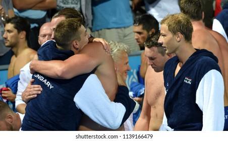 Budapest, Hungary - Jul 27, 2017. Happy hungarian team (ZALANKI Gergo 4, TOROK Bela 2,  DECKER Attila 13) after winning in the Semifinal. FINA Waterpolo World Championship.