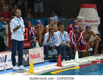 Budapest, Hungary - Jul 27, 2017. TUCAK Ivica head coach and the croatian men waterpolo team in the Final. FINA Waterpolo World Championship was held in Alfred Hajos Swimming Centre in 2017.
