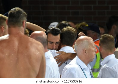 Budapest, Hungary - Jul 27, 2017. Sad hungarian team (GOR-NAGY Miklos 8) after losing in the Final against Croatia. FINA Waterpolo World Championship.