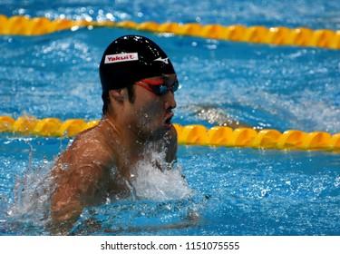 Budapest, Hungary - Jul 27, 2017. Competitive swimmer HAGINO Kosuke (JPN) in the 200m Individual Medley Final. FINA Swimming World Championship was held in Duna Arena.