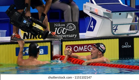 Budapest, Hungary - Jul 27, 2017. Competitive swimmer HAGINO Kosuke (JPN) and KALISZ Chase (USA) after the 200m Individual Medley Final. FINA Swimming World Championship was held in Duna Arena.