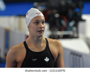 Budapest, Hungary - Jul 27, 2017. Competitive swimmer OLEKSIAK Penny (CAN) in the 100m Freestyle Semifinal. FINA Swimming World Championship was held in Duna Arena.