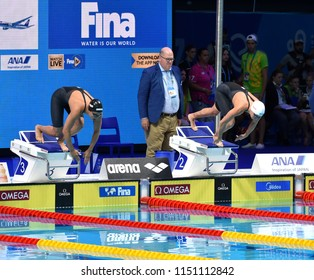 Budapest, Hungary - Jul 27, 2017. Competitive swimmer BONNET Charlotte (FRA) and KROMOWIDJOJO Ranomi (NED) in the 100m Freestyle Semifinal. FINA Swimming World Championship was held in Duna Arena.