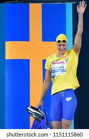 Budapest, Hungary - Jul 27, 2017. Competitive swimmer SJOSTROM Sarah (SWE) in the 100m Freestyle Semifinal. FINA Swimming World Championship was held in Duna Arena.