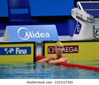 Budapest, Hungary - Jul 27, 2017. Competitive swimmer MCKEON Emma (AUS) in the 100m Freestyle Semifinal. FINA Swimming World Championship was held in Duna Arena.
