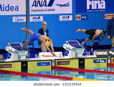 Budapest, Hungary - Jul 27, 2017. Competitive swimmer SJOSTROM Sarah (SWE) and COMERFORD Mallory (USA) in the 100m Freestyle Semifinal. FINA Swimming World Championship was held in Duna Arena.