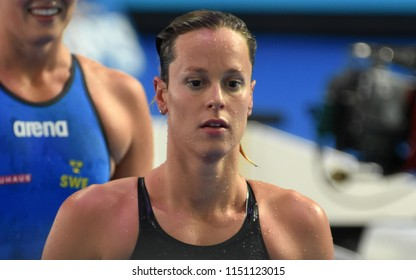 Budapest, Hungary - Jul 27, 2017. Competitive swimmer PELLEGRINI Federica (ITA) in the 100m Freestyle Semifinal. FINA Swimming World Championship was held in Duna Arena.
