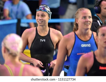 Budapest, Hungary - Jul 27, 2017. Competitive swimmer COMERFORD Mallory (USA) in the 100m Freestyle Semifinal. FINA Swimming World Championship was held in Duna Arena.