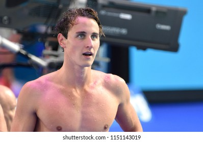 Budapest, Hungary - Jul 27, 2017. Competitive swimmer MCEVOY Cameron (AUS) in the 100m Freestyle Final. FINA Swimming World Championship was held in Duna Arena.