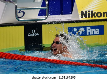 Budapest, Hungary - Jul 27, 2017. Competitive swimmer ADRIAN Nathan (USA) in the 100m Freestyle Final. FINA Swimming World Championship was held in Duna Arena.