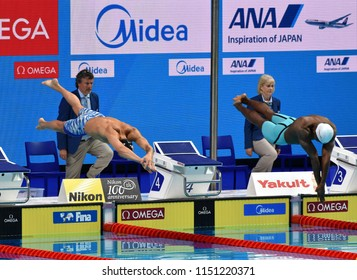 Budapest, Hungary - Jul 27, 2017. Competitive swimmer DRESSEL Caeleb Remel (USA) and METELLA Mehdy (FRA) in the 100m Freestyle Final. FINA Swimming World Championship was held in Duna Arena.