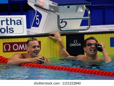 Budapest, Hungary - Jul 27, 2017. DRESSEL Caeleb Remel (USA) and ADRIAN Nathan (USA) after the 100m Freestyle Final. FINA Swimming World Championship was held in Duna Arena.
