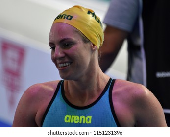 Budapest, Hungary - Jul 27, 2017. Competitive swimmer SEEBOHM Emily (AUS) in the 50m Backstroke Final. FINA Swimming World Championship was held in Duna Arena.