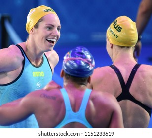 Budapest, Hungary - Jul 27, 2017. Competitive swimmer SEEBOHM Emily (AUS) and BARRATT Holly (AUS) after the 50m Backstroke Final. FINA Swimming World Championship was held in Duna Arena.