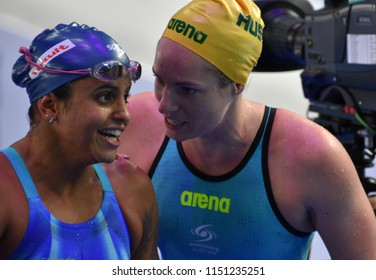 Budapest, Hungary - Jul 27, 2017. Competitive swimmer SEEBOHM Emily (AUS) and MEDEIROS Etiene (BRA) after the 50m Backstroke Final. FINA Swimming World Championship was held in Duna Arena.