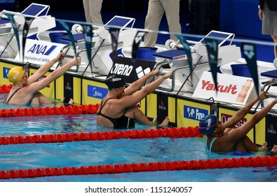 Budapest, Hungary - Jul 27, 2017. SEEBOHM Emily (AUS), BAKER Kathleen (USA) and MEDEIROS Etiene (BRA) in the 50m Backstroke Final. FINA Swimming World Championship was held in Duna Arena.