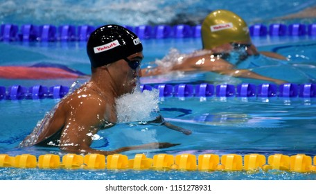 Budapest, Hungary - Jul 27, 2017. Competitive swimmer PIZZINI Luca (ITA) in the 200m Breaststroke Semifinal. FINA Swimming World Championship was held in Duna Arena.