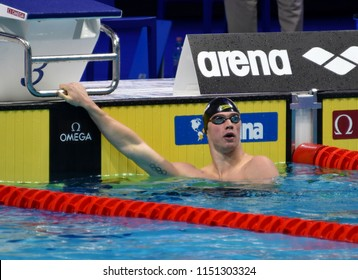 Budapest, Hungary - Jul 27, 2017. Competitive swimmer CORDES Kevin (USA) in the 200m Breaststroke Semifinal. FINA Swimming World Championship was held in Duna Arena.