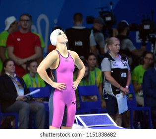 Budapest, Hungary - Jul 27, 2017. Competitive swimmer SZILAGYI Liliana (HUN) in the 200m Butterfly Final. FINA Swimming World Championship was held in Duna Arena.