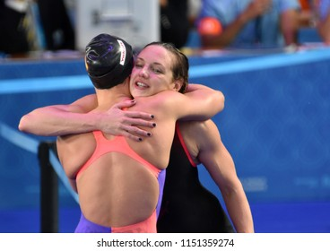 Budapest, Hungary - Jul 27, 2017. Competitive swimmer HOSSZU Katinka (HUN) and BELMONTE Mireia (ESP) after the 200m Butterfly Final. FINA Swimming World Championship was held in Duna Arena.