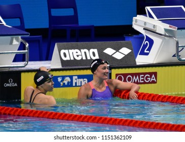 Budapest, Hungary - Jul 27, 2017. Competitive swimmer BELMONTE Mireia (ESP) and HENTKE Franziska (GER) after the 200m Butterfly Final. FINA Swimming World Championship was held in Duna Arena.