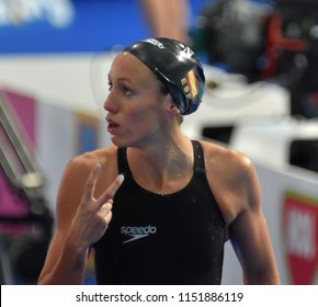 Budapest, Hungary - Jul 27, 2017. Competitive swimmer VALL Jessica (ESP) in the 200m Breaststroke Semifinal. FINA Swimming World Championship was held in Duna Arena.