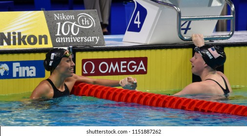 Budapest, Hungary - Jul 27, 2017. Competitive swimmer KING Lilly (USA) and VALL Jessica (ESP) after the 200m Breaststroke Semifinal. FINA Swimming World Championship was held in Duna Arena.