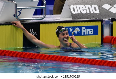 Budapest, Hungary - Jul 27, 2017. Competitive swimmer GALAT Bethany (USA) in the 200m Breaststroke Semifinal. FINA Swimming World Championship was held in Duna Arena.