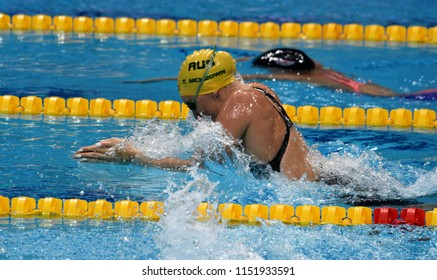 Budapest, Hungary - Jul 27, 2017. Competitive swimmer MCKEOWN Taylor (AUS) in the 200m Breaststroke Semifinal. FINA Swimming World Championship was held in Duna Arena.