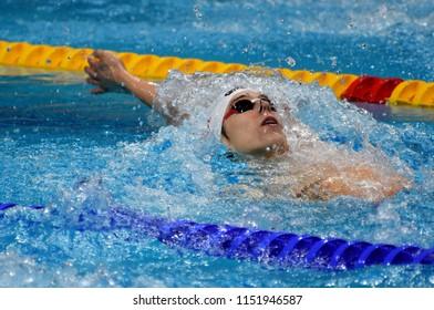 Budapest, Hungary - Jul 27, 2017. Competitive swimmer TELEGDY Adam (HUN) in the 200m Backstroke Semifinal. FINA Swimming World Championship was held in Duna Arena.