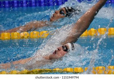 Budapest, Hungary - Jul 27, 2017. Competitive swimmer BERNEK Peter (HUN) in the 200m Backstroke Semifinal. FINA Swimming World Championship was held in Duna Arena.