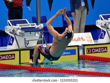 Budapest, Hungary - Jul 27, 2017. Competitive swimmer MURPHY Ryan (USA) in the 200m Backstroke Semifinal. FINA Swimming World Championship was held in Duna Arena.