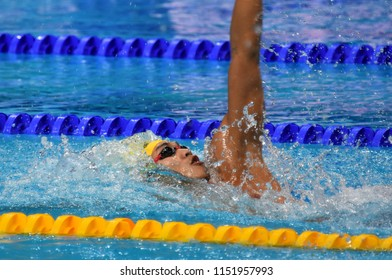 Budapest, Hungary - Jul 27, 2017. Competitive swimmer XU Jiayu (CHN) in the 200m Backstroke Semifinal. FINA Swimming World Championship was held in Duna Arena.