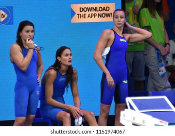 Budapest, Hungary - Jul 27, 2017. Team Hungary (KESELY Ajna, JAKABOS Zsuzsanna, VERRASZTO Evelin) in the Women 4x200m Freestyle Final. FINA Swimming World Championship in Duna Arena.